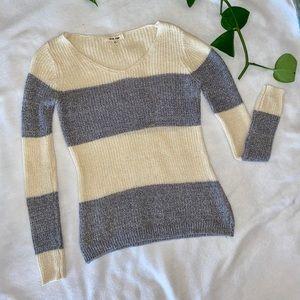 grey and cream sweater